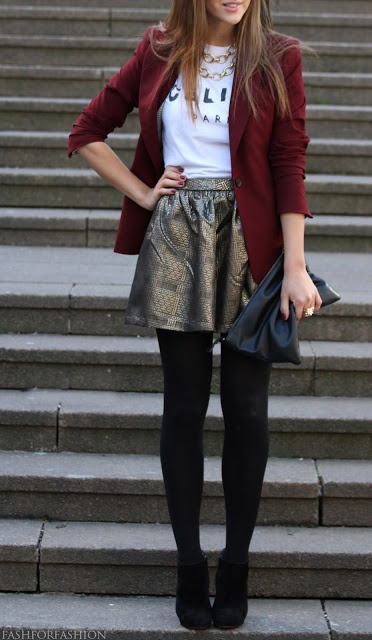 Black leggings, burgundy blazer, metallic skirt and black hand bag