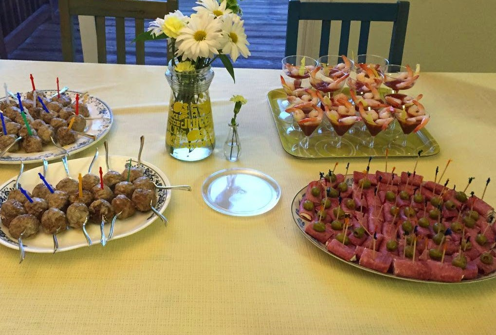 sticking to our theme were serving tasty retro appetizers were keeping it simple and offering finger foods like meat and cheese roll ups - Buffet Retro Cuisine