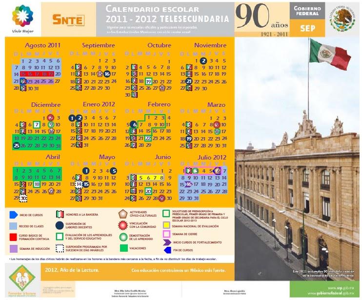 CALENDARIO PARA TELESECUNDARIA 2011-12