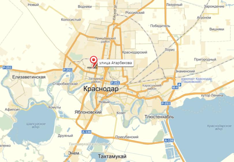 на карте Краснодара: