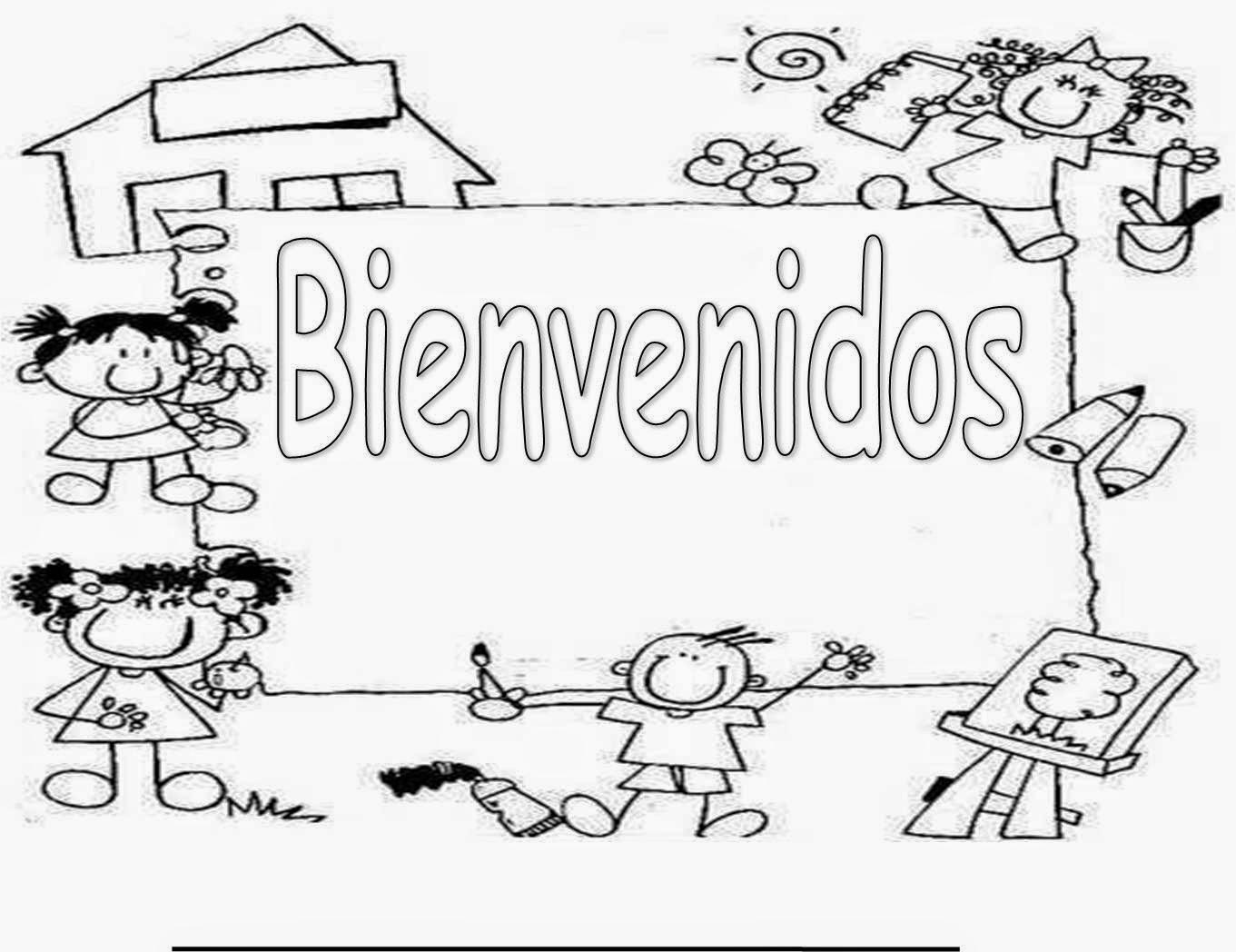 Colorea tus dibujos bienvenidos a clases para colorear y - Ninos en clase dibujo ...