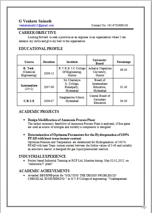 resume co resume sle of b tech chemical