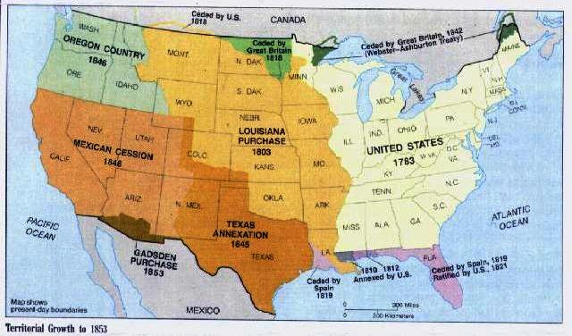 a map of united states expansion in the 1800s