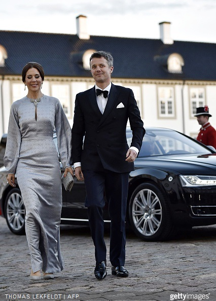 Crown Princess Mary and Crown Prince Frederik of Denmark arrive for the dinner at Fredensborg Castle on the occasion of Queen Margrethe's 75th birthday