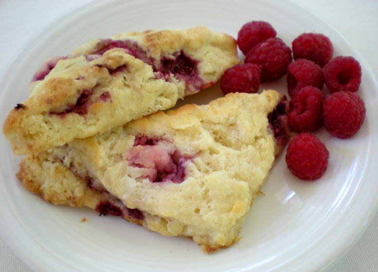 Raspberry buttermilk scones by Lucy Mercer/A Cook and Her Books