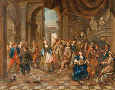 A Party with Music and Actors Entertaining the Company by Hendrick Goovaerts, c.1710