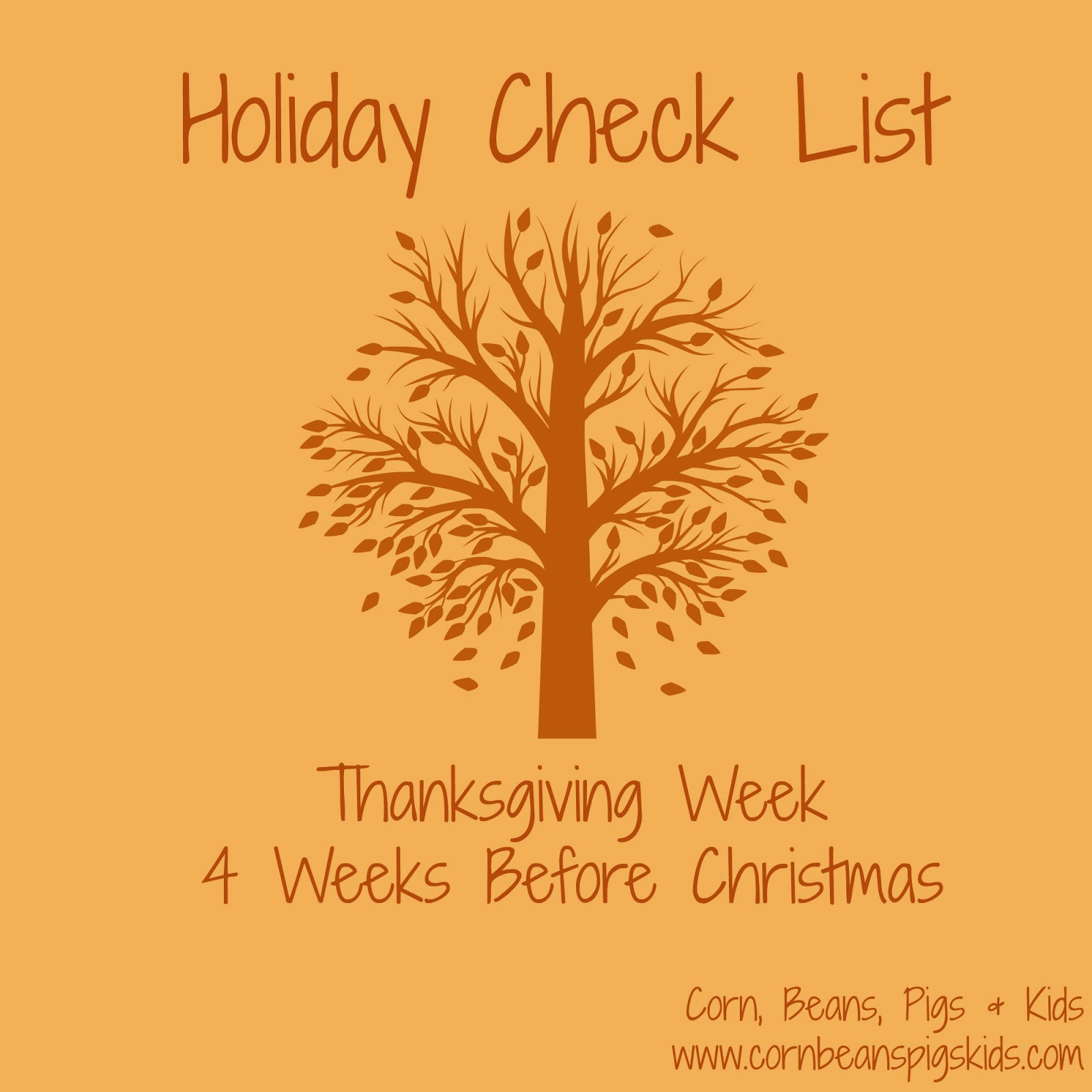 Holiday Check List - Thanksgiving Week
