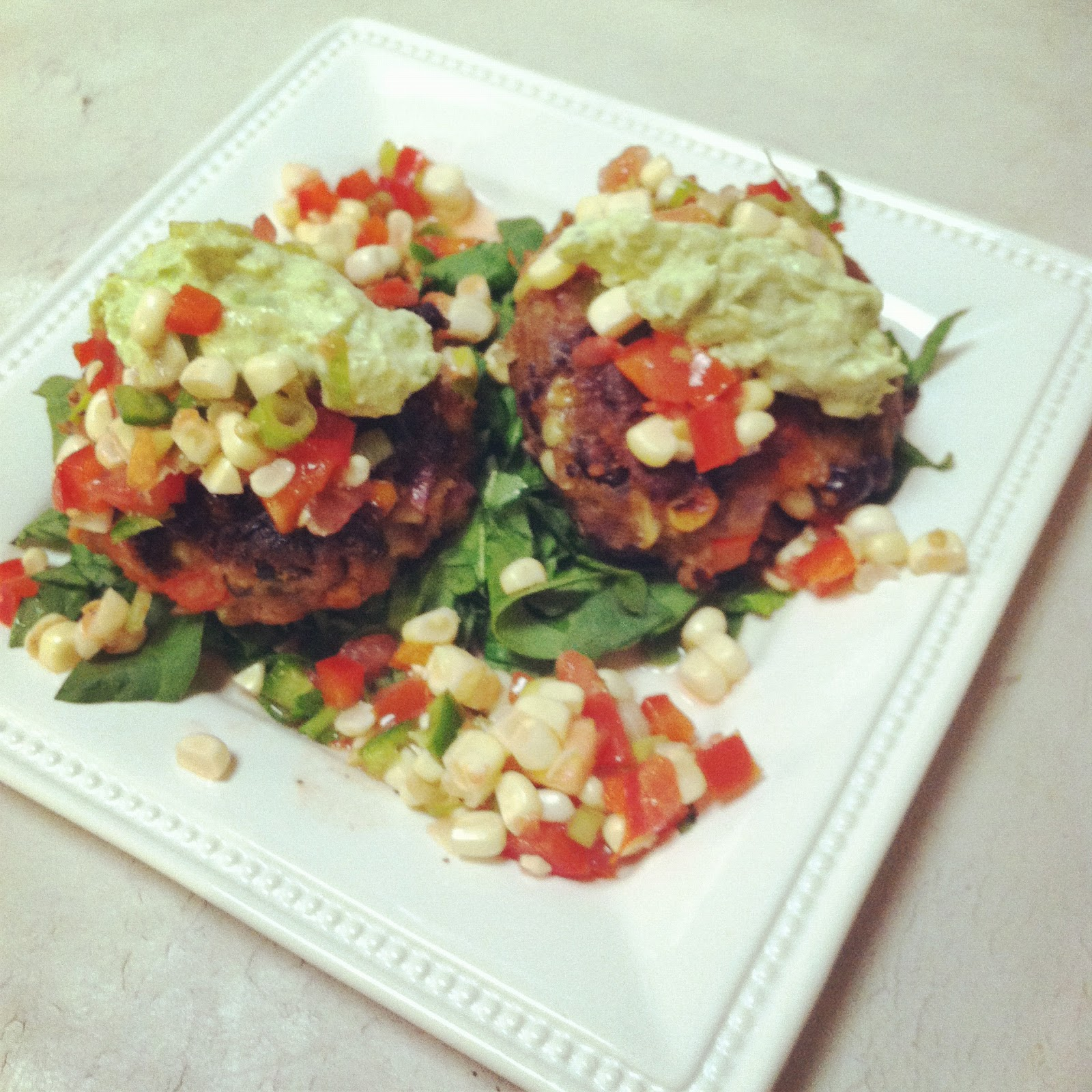 ... and dirty diapers: Black Bean Cakes With Corn Salsa and Avocado Cream