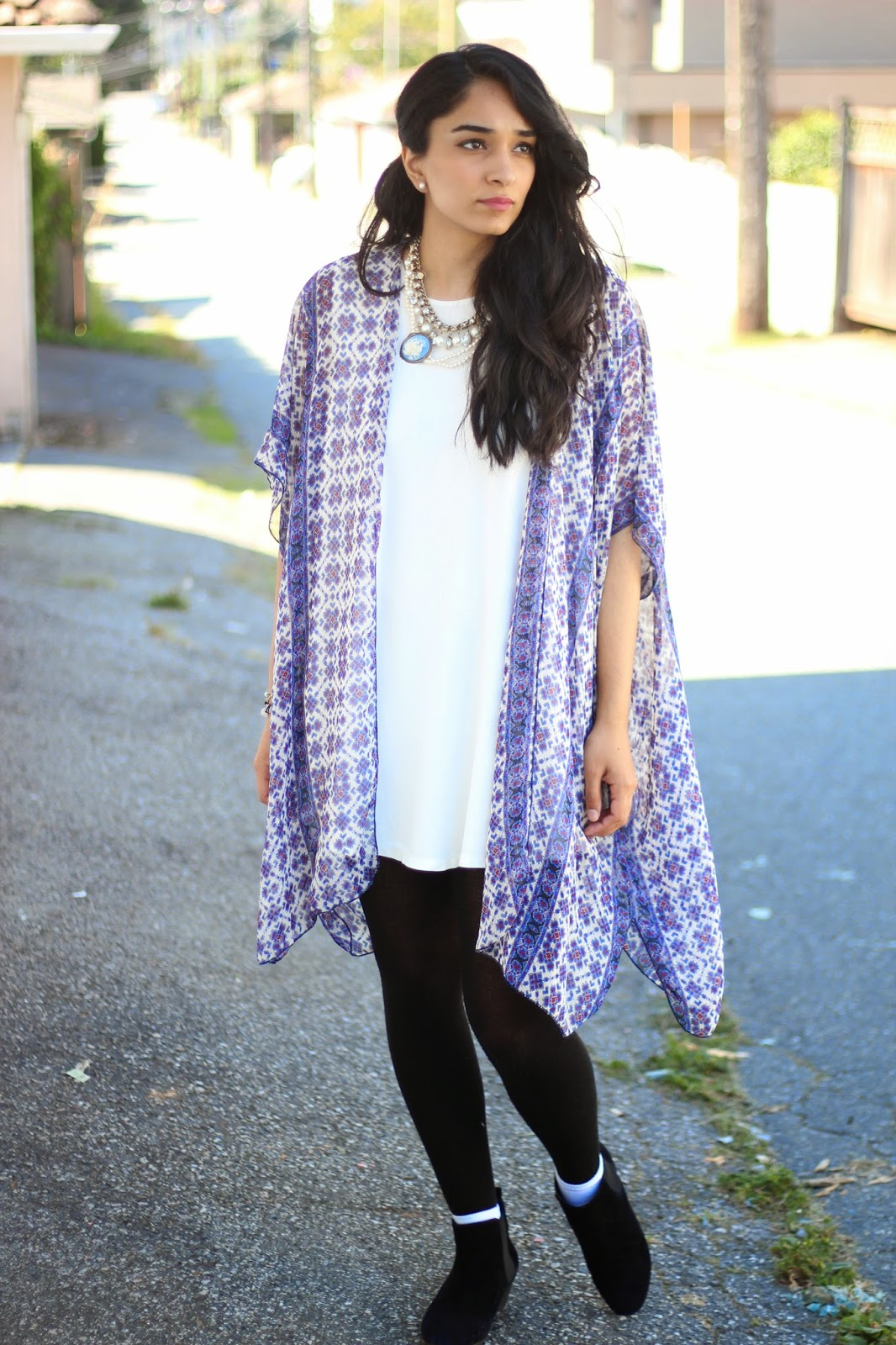 kimono with white dress www.footnotesandfinds.com