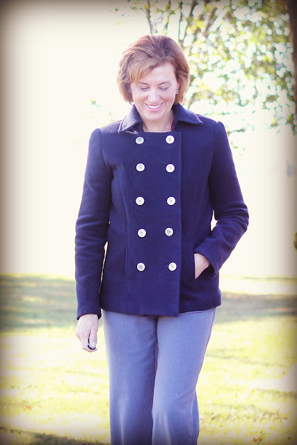 Vogue 1467 Pea Coat in Mood Fabrics' Italian wool coating