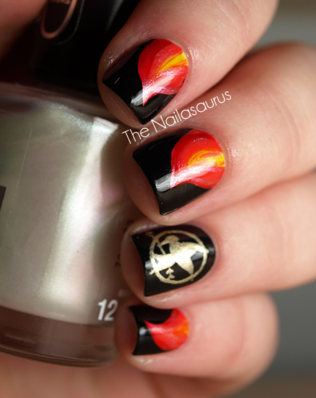 Nails on Fire: The Hunger Games Nail Art | The Nailasaurus | UK Nail