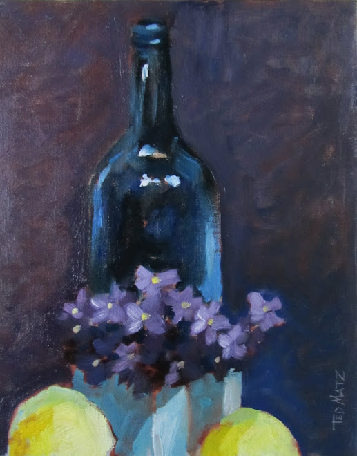 Blue Bottle with Violets Two