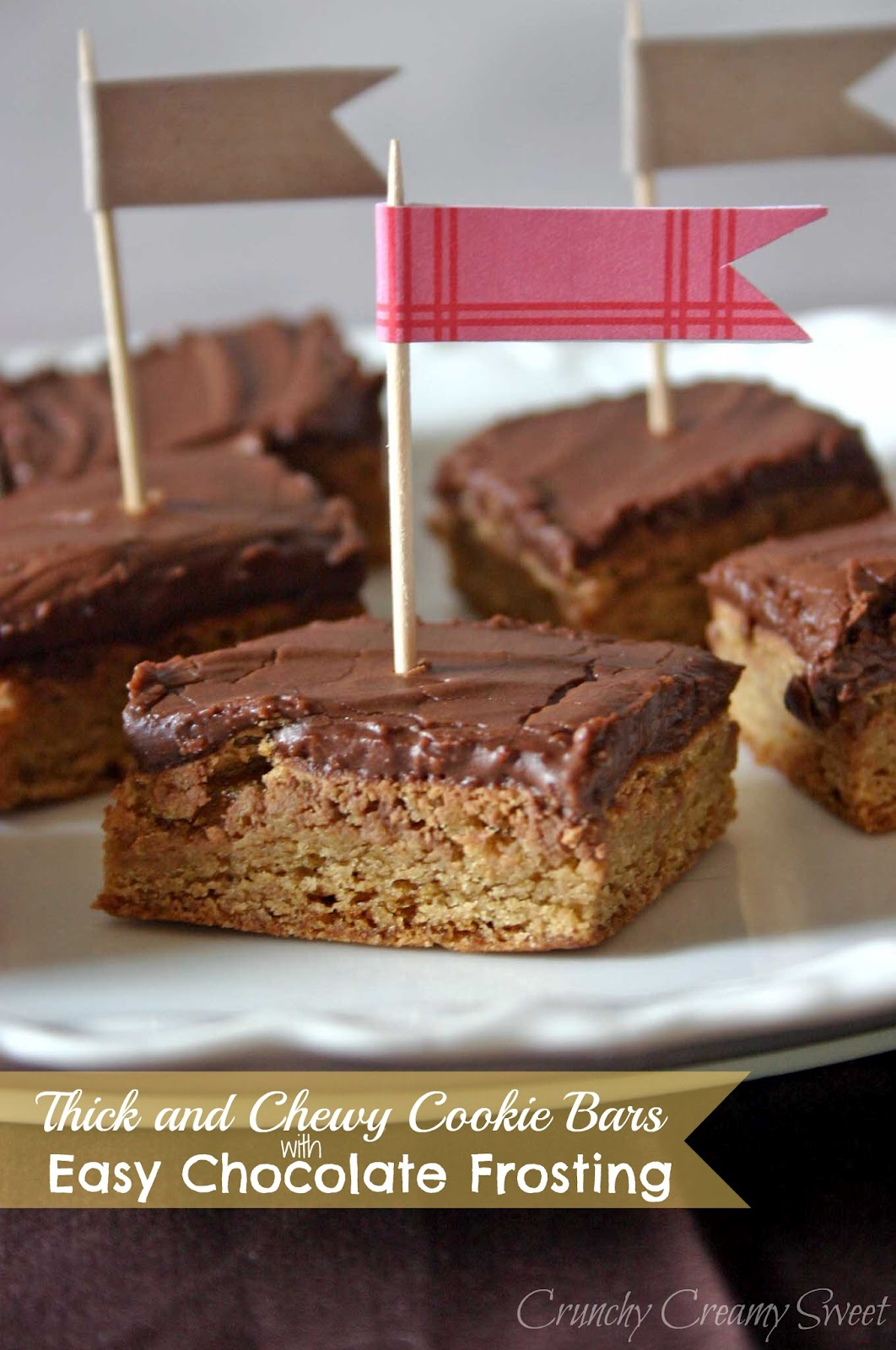 thick chewy cookie bars easy chocolate frosting