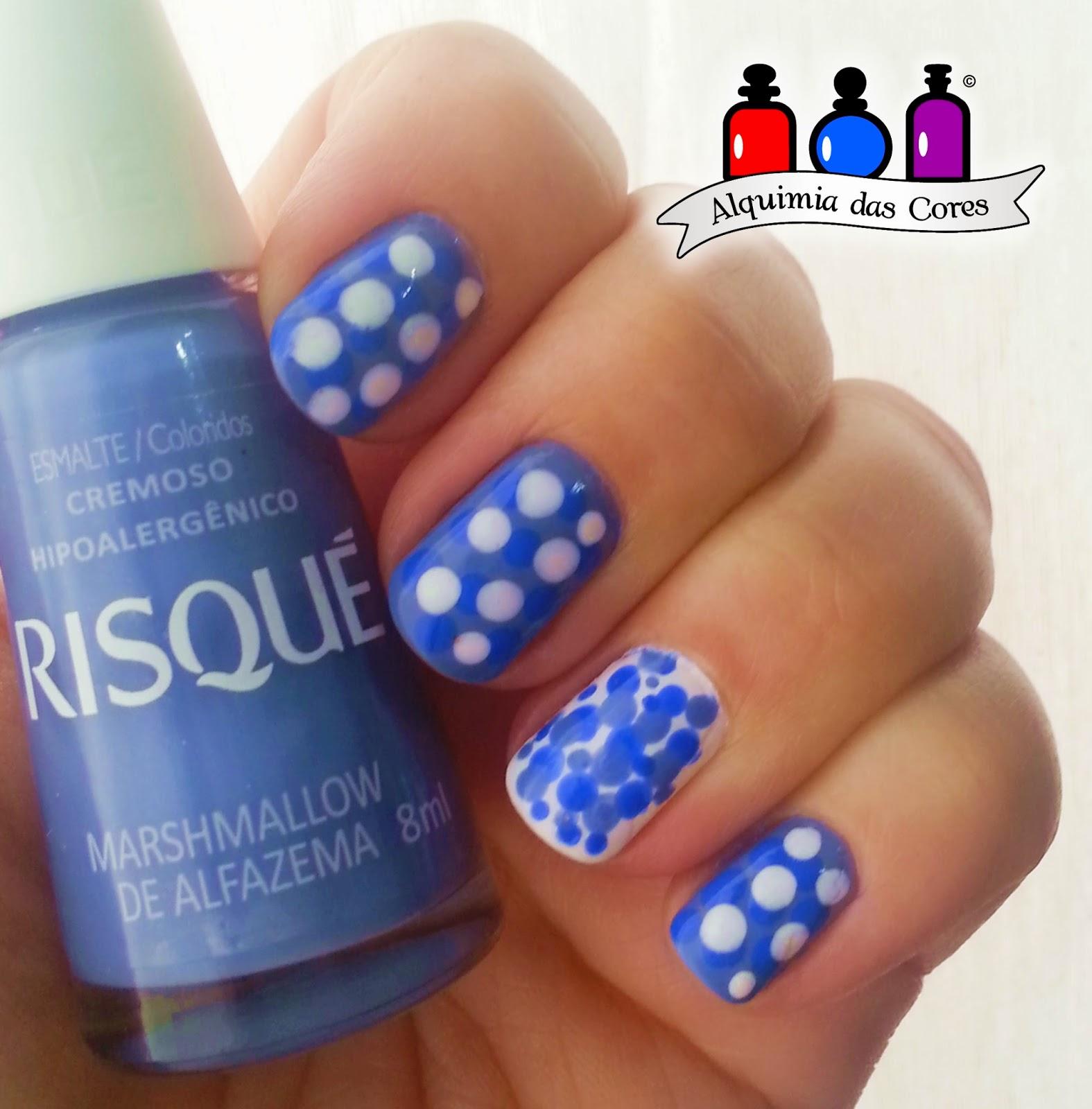 Arii Goes, azul, bourjois, branco, lilás, poá, risqué
