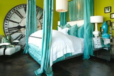 Eclectic Bedroom Design on Teal  Chartreuse  Grey