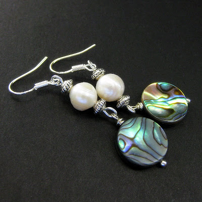 Paua Abalone Shell and Fresh Water Pearl Earrings