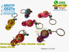 Gantungan Kunci Kayu Boneka Jepang