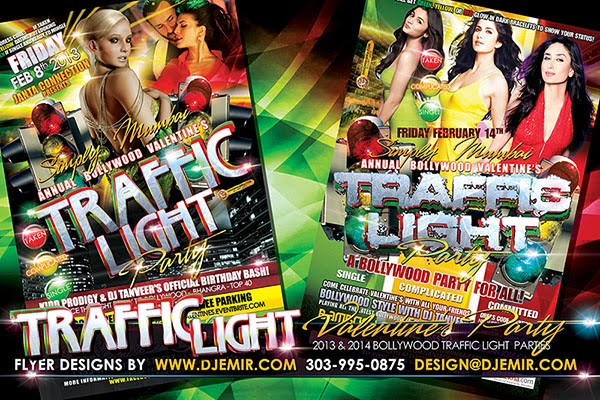 Bollywood Valentine's TrafficLight Party Flyer Design