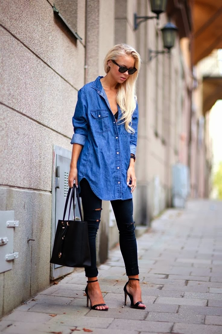 Trend report fall 2013 how to wear your boyfriends denim for Skinny jeans with shirt