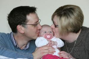 SO HAPPY: Richard and Emma Bryant with baby Ellena, who is five weeks old.