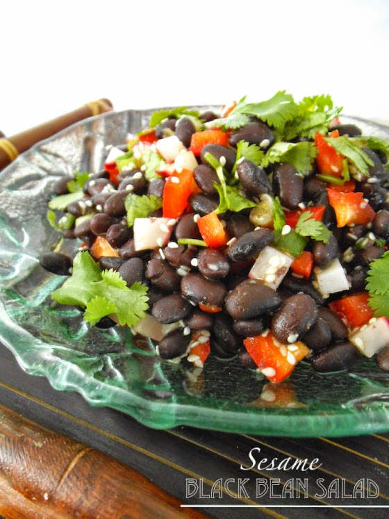 Sesame Black Bean Salad with Red Peppers and Sesame Ginger Dressing from Swirls and Spice