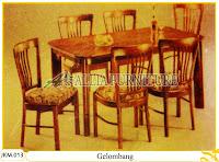 Kursi dan Meja Makan Kayu Jati Ukiran Gelombang