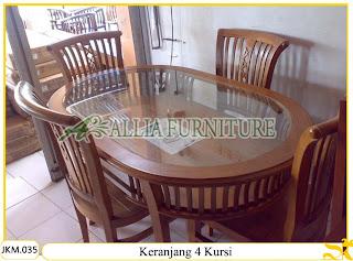 Meja dan Kursi Makan Kayu Jati Ukiran Keranjang 4 Kursi