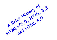 image of a brief history of html 3.0, html 3.2 and html 4.0