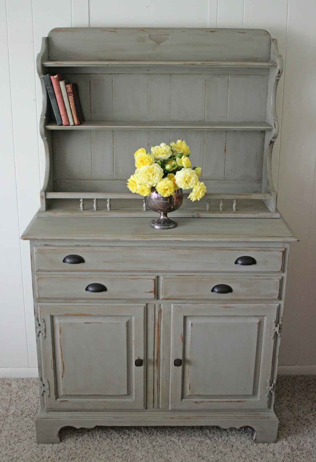 antique recreation hutch in french linen. Black Bedroom Furniture Sets. Home Design Ideas