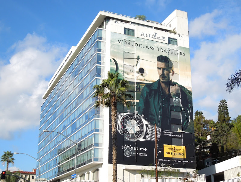 Giant David Beckham Breitling watch billboard Andaz