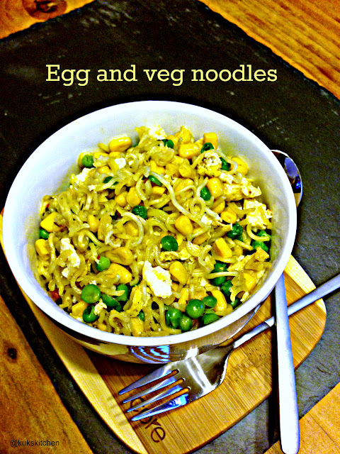 Maggi Noodles Stir fried with Egg and Vegetables | Kukskitchen