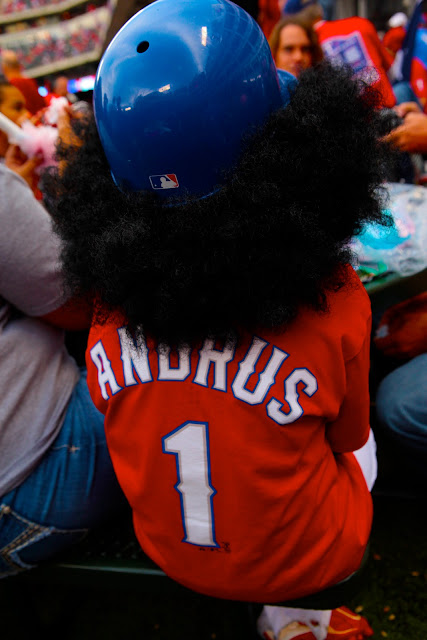 A big Elvis Andrus fan during the 2010 World Series at Rangers Ballpark in Arlington.