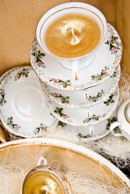 DIY Homemade gold glitter candles in tea cups, tutorial