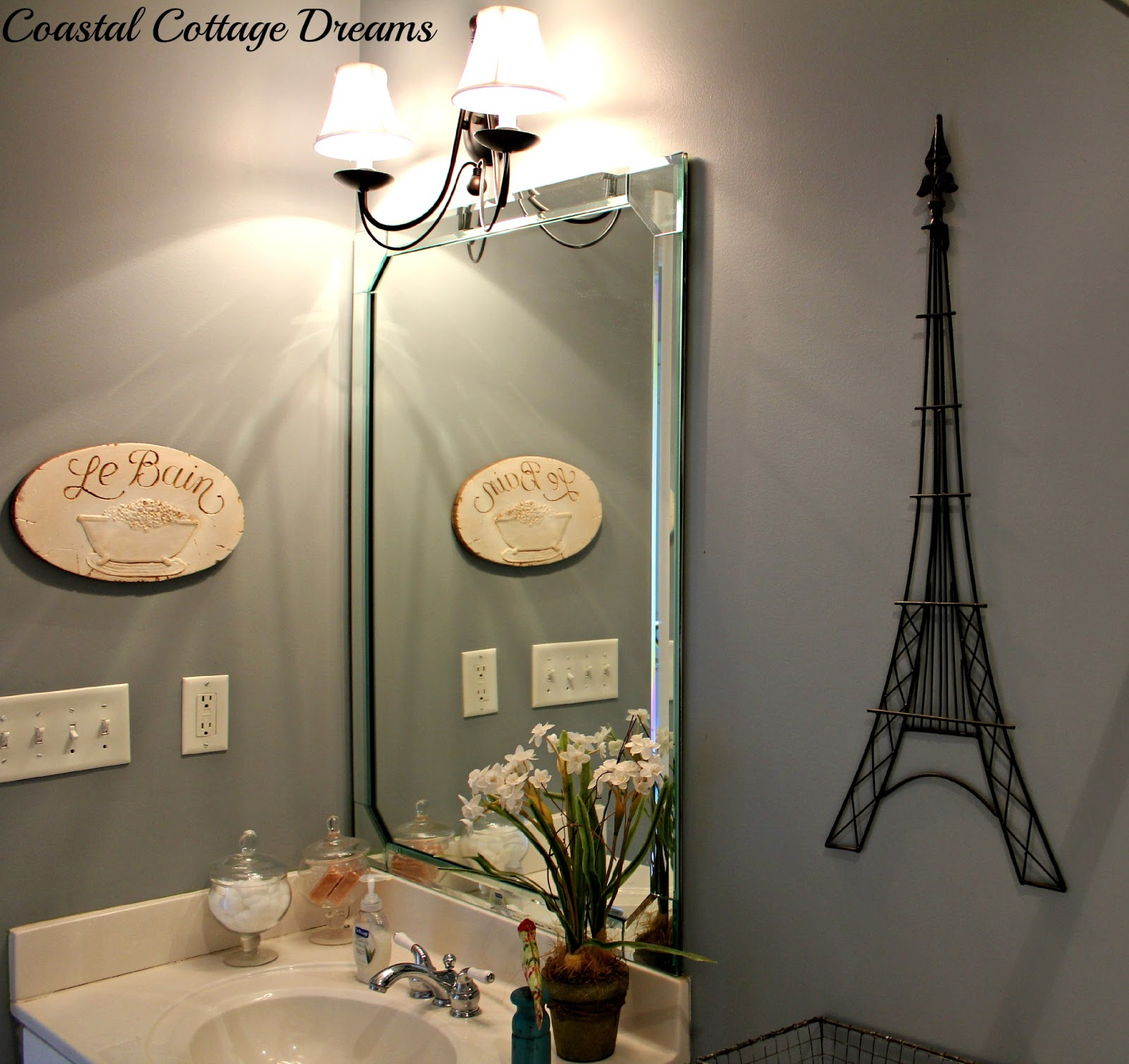 sunflowers with smiles: french touches to bathroom