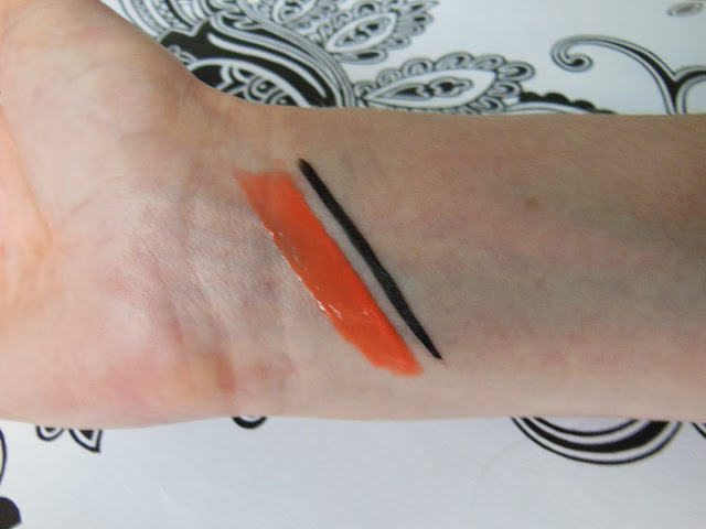 Paul and Joe liquid liner and glossy lip colour swatch