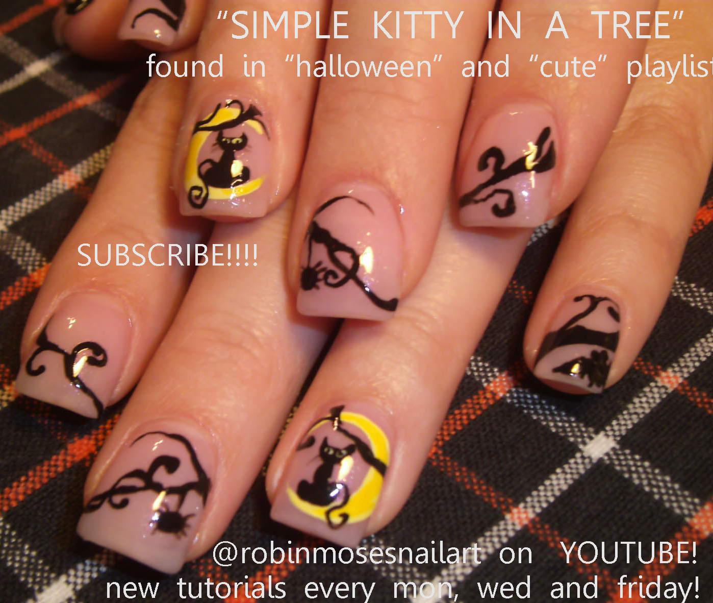 Robin moses nail art cute fall nail art cute fall nails fall simple cat sitting in a moon robin moses halloween nail art tutorial prinsesfo Images