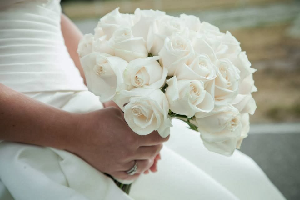 bouquet, bride, white roses