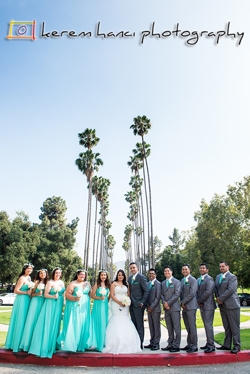 The wedding party in front of the Brand Library in Glendale.