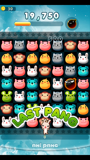 Matching the animals on anipang- Korean android game app on Kakao