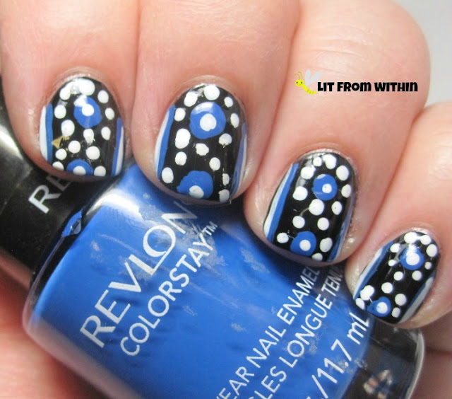 I added large blue dots with my dotting tool using Revlon Indigo Night