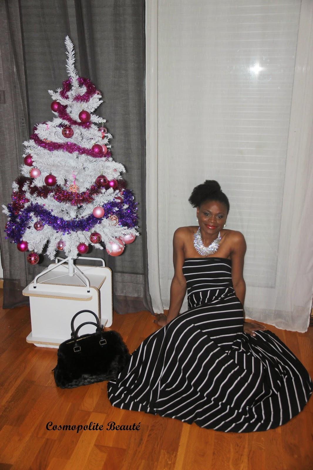 tenue de fêtes, robe longue, robe bustier, robe fêtes,  tenue de fêtes, cosmopolite beauté, lookbook,collier  bcbg maxazria,veste mango, robe monoprix, look de noel,