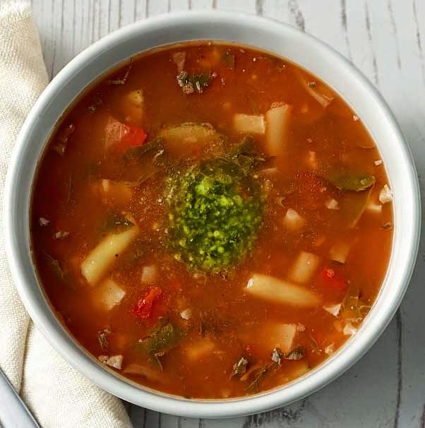 Carol Corners The Market Panera Style Low Fat Vegetarian Garden Vegetable Soup With Pesto
