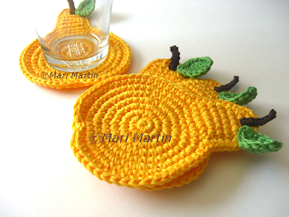 Crochet Coasters Yellow Pear