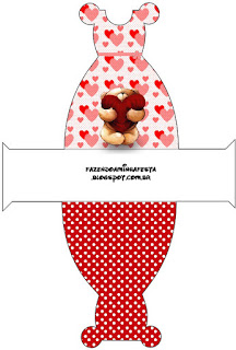 Teddy Bear in Love Free Printable Dress Box.