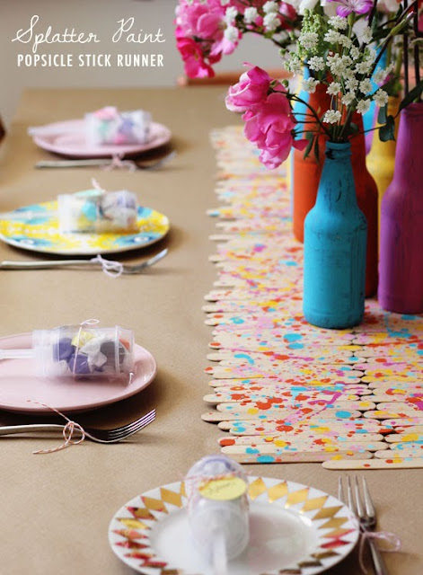 popsicle stick table runner party craft