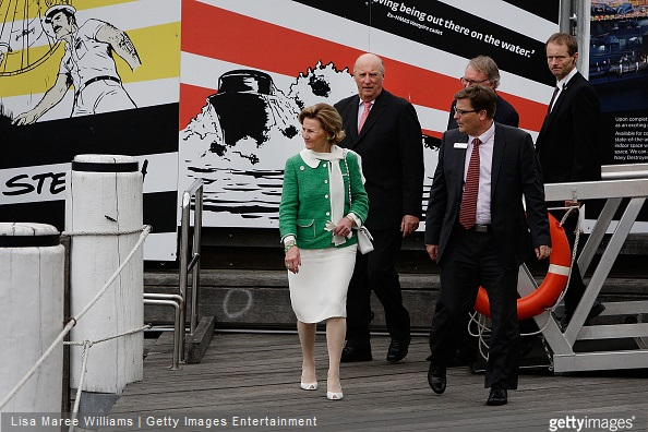 King Harald V and Queen Sonja of Norway visits the 'Kathleen Gillett Ketch' with director Kevin Sumption and chairman Peter Dexter at the Australian National Maritime Museum