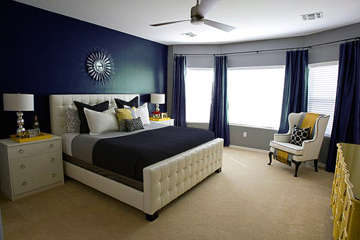 Dormitorios en azul oscuro for Dormitorio oscuro
