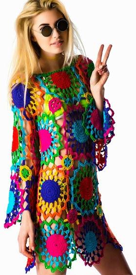 ,tığ örgü giyim,renkli tığ elbise