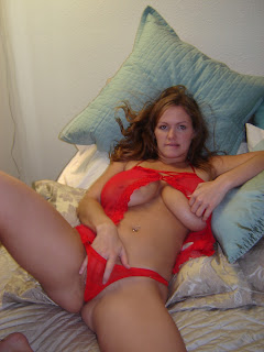 her hand in her red panties and massive boobs