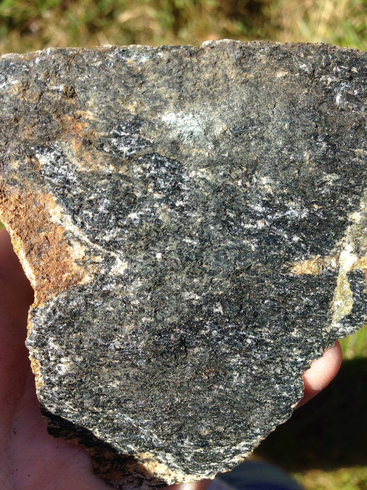 figure 4 1 mafic rock from moretown fm stop 1 note the dark color and the fact that the grains are weakly aligned